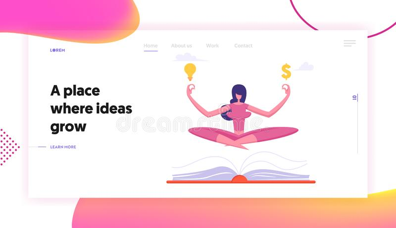 Relaxed Businesswoman in Lotus Position Doing Yoga at Workplace Website Landing Page. Office Worker Meditate royalty free illustration