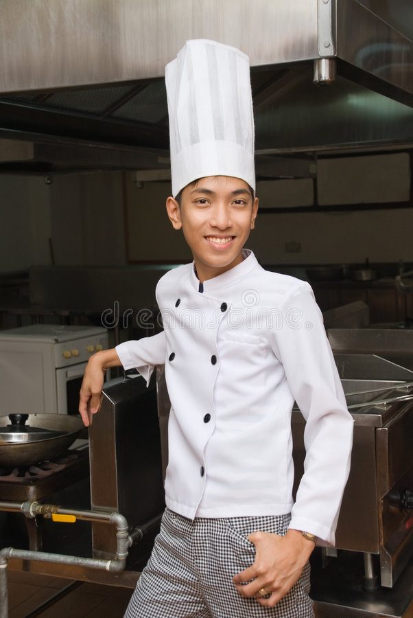 Relaxed Chinese kitchen manager stock images