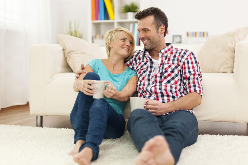 Download Relaxed couple at home stock image. Image of floor, heterosexual - 37801377