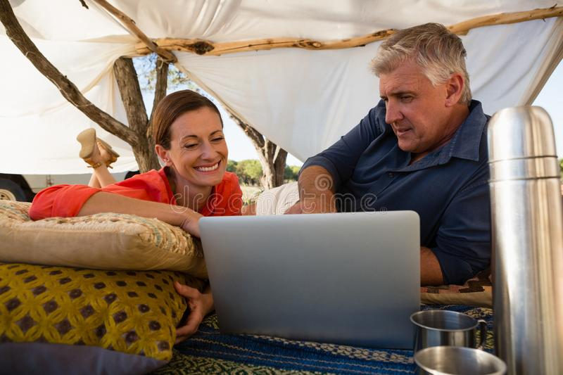 Couple looking at laptop in tent stock images