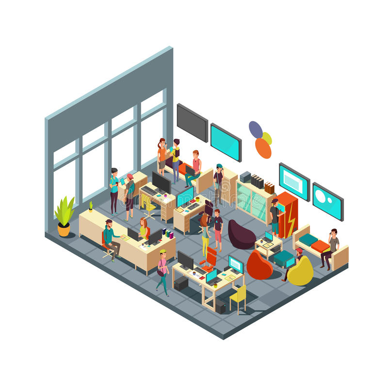 Relaxed creative people meeting in room interior. 3d isometric coworking and teamwork vector concept vector illustration