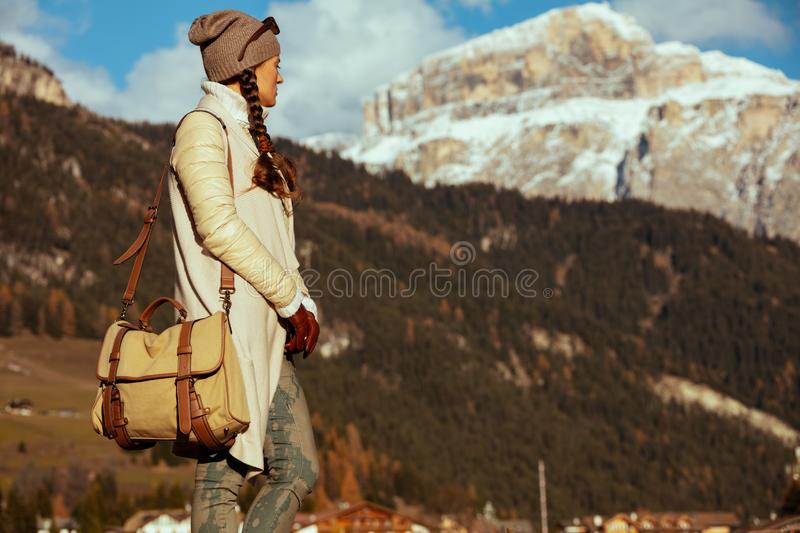 Relaxed fit woman hiker in Alto Adige, Italy royalty free stock photography