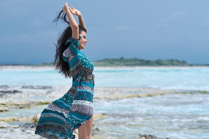 Relaxed Girl Breathing Fresh Air, Emotional Sexy Model Near The Sea royalty free stock images