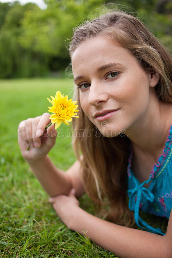 Download Relaxed Girl Lying On The Grass In A Park Stock Photo - Image: 25331570