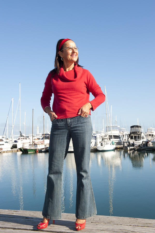 Download Relaxed Happy Mature Woman Ocean Stock Photos - Image: 26941803