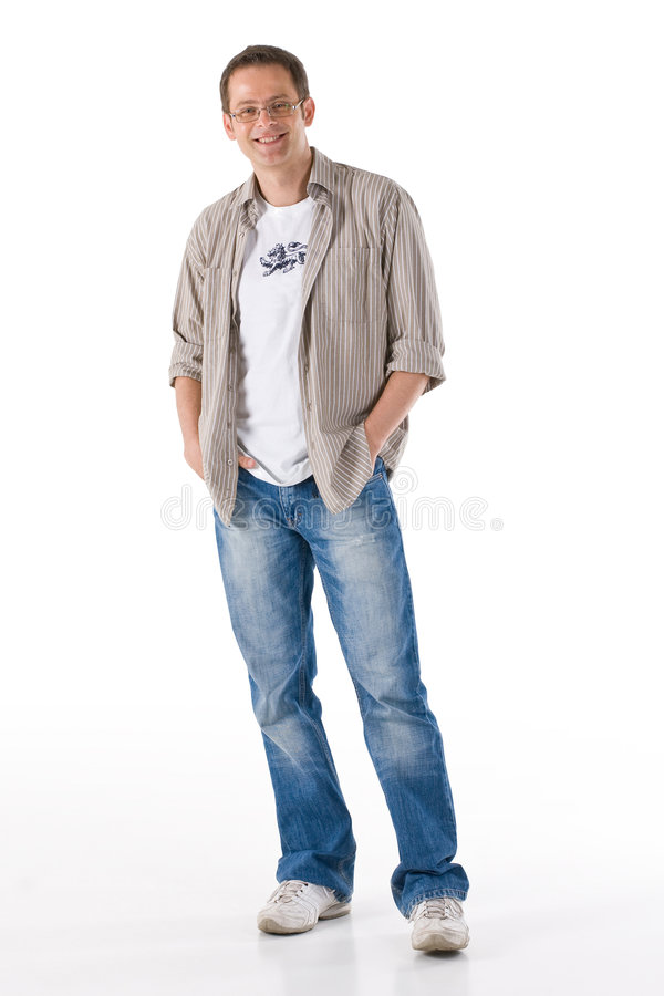Relaxed man. Man standing in relaxed pose and casual clothing royalty free stock photos