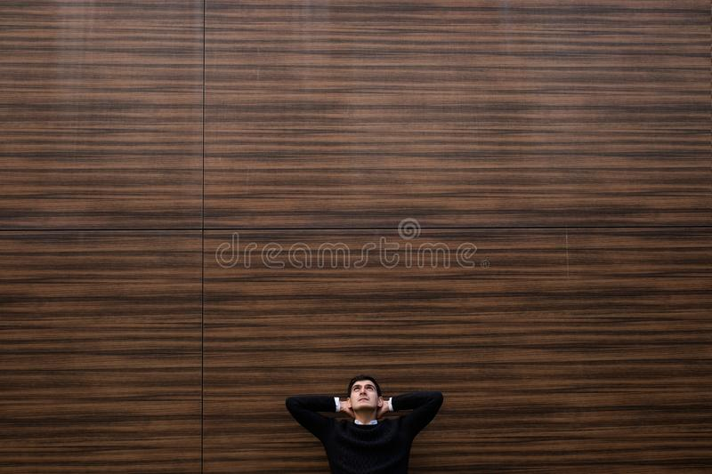 Relaxed man look up background outdoor copy space royalty free stock image