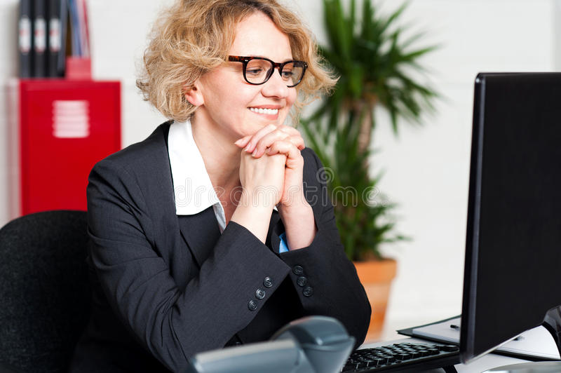 Download Relaxed Portrait Of Beautiful Aged Corporate Woman Stock Image - Image: 25997375