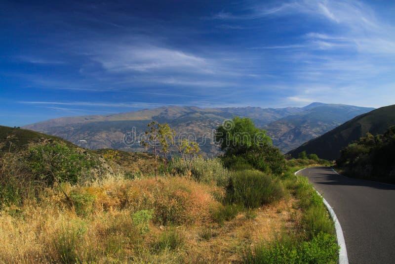 Relaxed que conduce en el camino solo en los altos llanos de Sierra Nevada debajo del cielo azul, provincia Andalucía, España foto de archivo
