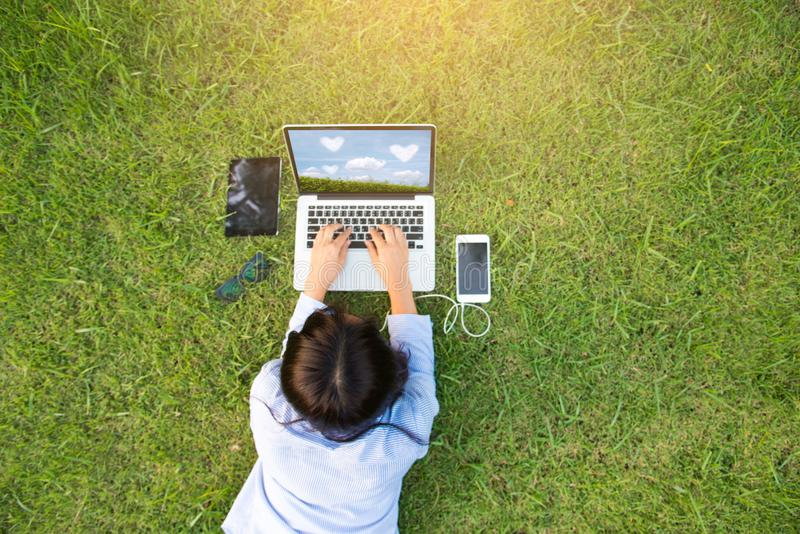 Relaxed Sales Managers Working Outdoor. stock photography