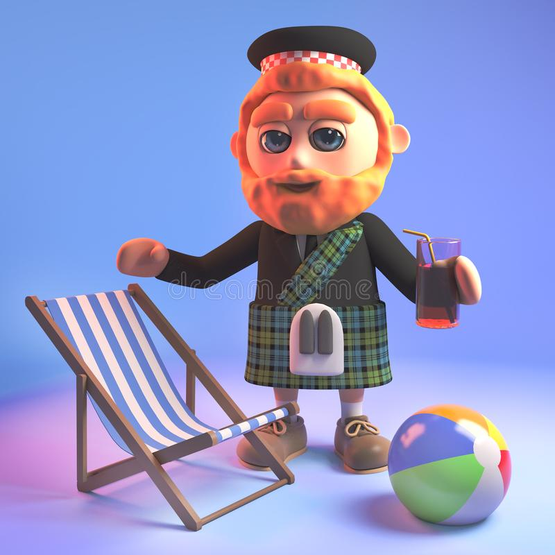Relaxed Scottish man in kilt on holiday with his deck chair, beachball and drink, 3d illustration. Render stock illustration