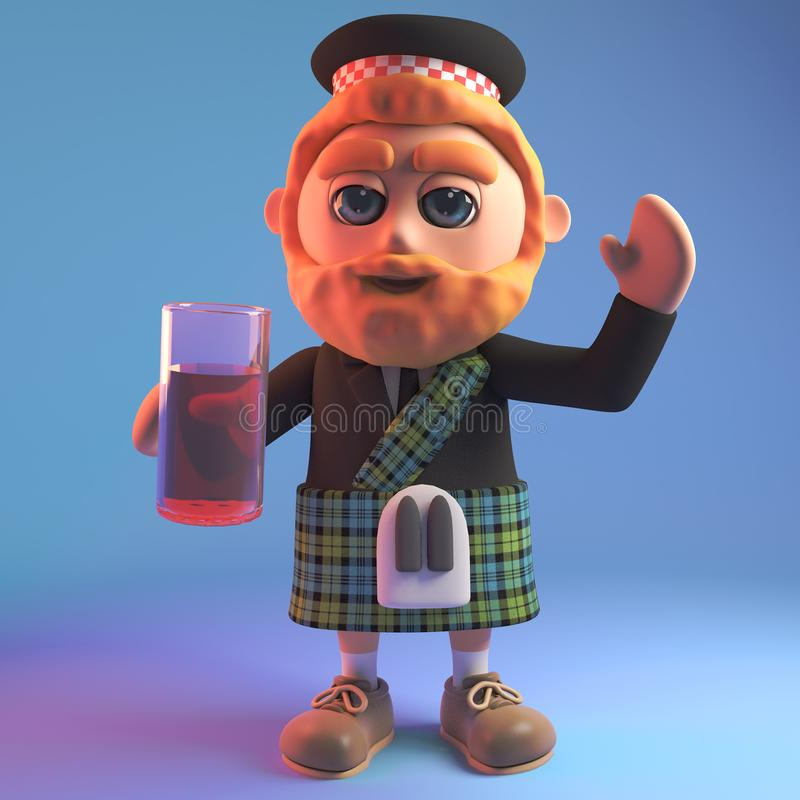 Relaxed Scottish man in traditional kilt drinking a soft drink from a glass, 3d illustration. Render stock illustration