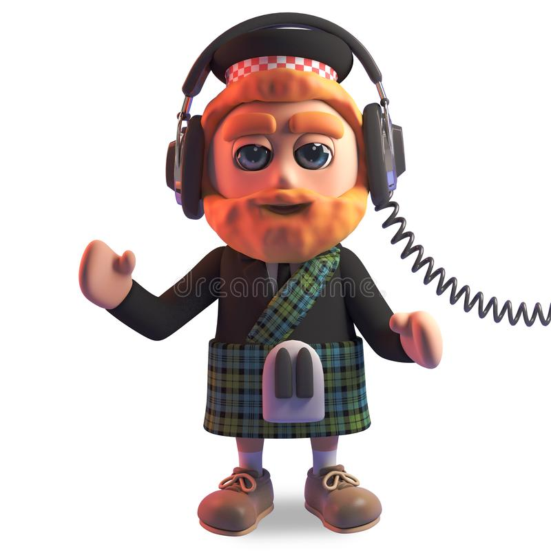 Relaxed Scottish man in traditional kilt listening to music on his headphones, 3d illustration royalty free illustration