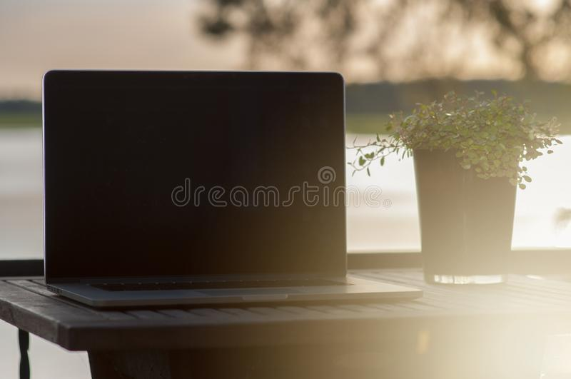 A relaxed and sentimental scene on a balcony with a laptop and a plant on a wooden terrace table, near ocean in archipelago in royalty free stock images