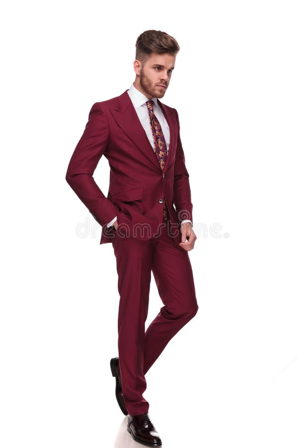 Relaxed stylish man walks and looks down to side. Relaxed stylish man in grena suit walks on white background with a hand in pocket and looks down to side, full stock image