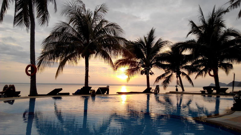 Sunset with infinity pool on Koh Phangan of Thaila stock images