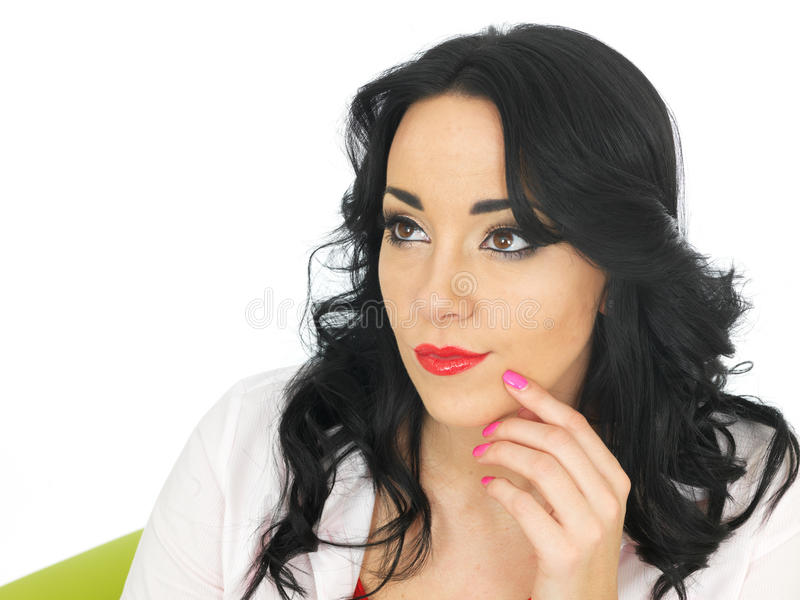 Relaxed Thoughtful Pensive Beautiful Young Hispanic Woman Considering a Situation royalty free stock photo