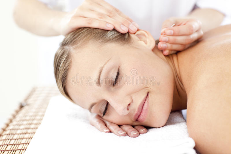 Download Relaxed Woman Receiving An Acupuncture Treatment Stock Photo - Image: 15518844