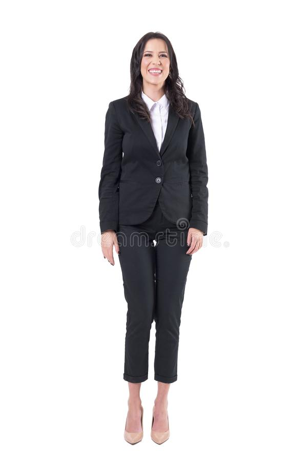 Relaxed young cheerful business woman in black suit laughing expression. royalty free stock image