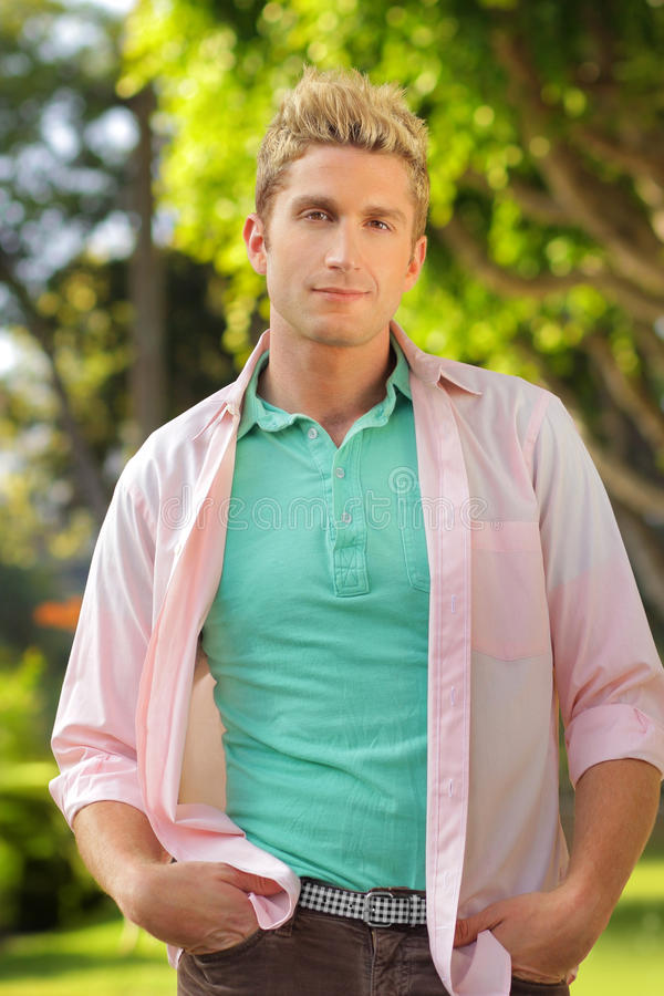 Relaxed young guy stock photo