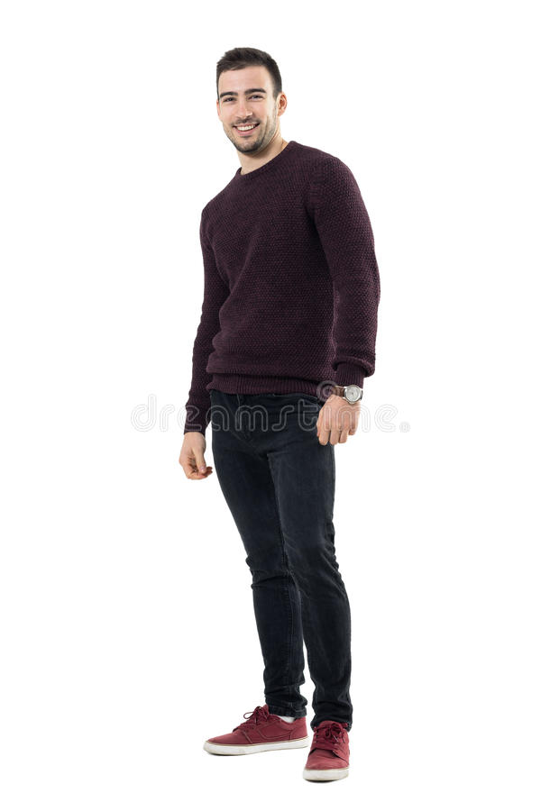 Relaxed young happy casual man in sweater laughing and looking at camera. royalty free stock photography