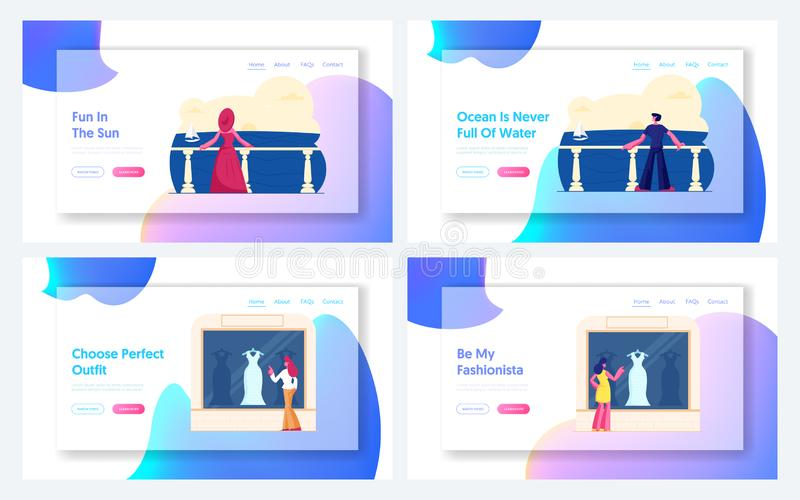Relaxen auf Sea Resort, Women Choose Dress Website Landing Page Set Gäste genießen Meeresblick auf der Hotelterrasse lizenzfreie abbildung