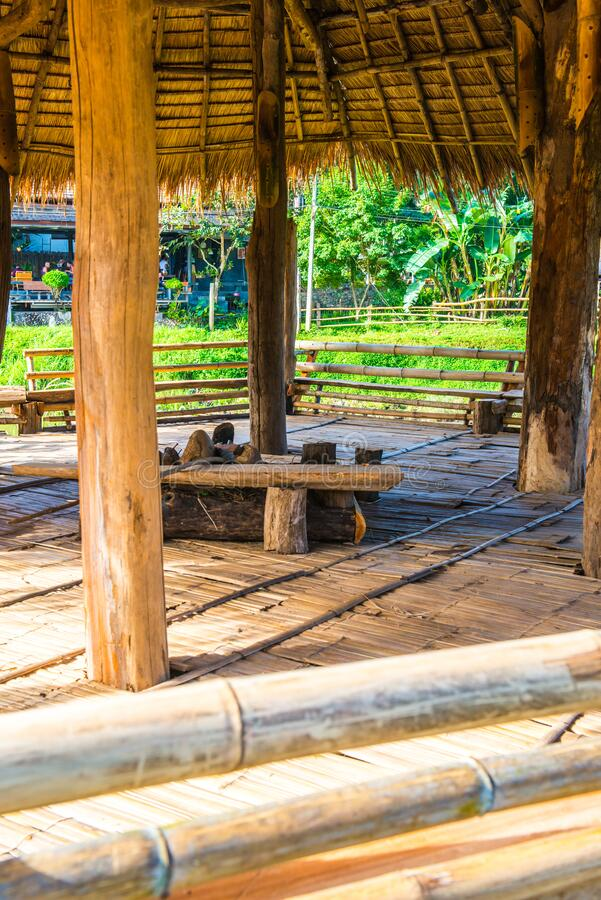 Relaxing area inside Thai country pavilion. Thailand stock photos