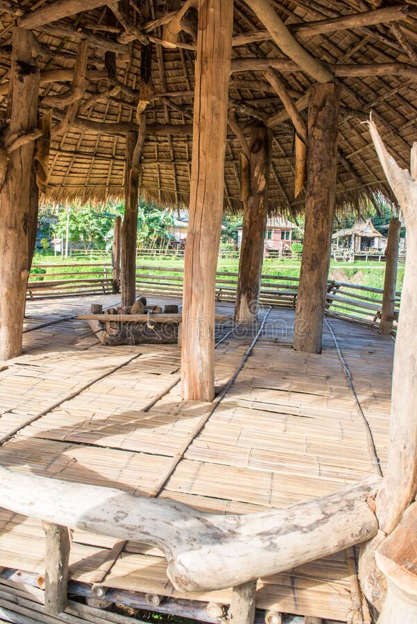 Relaxing area inside Thai country pavilion. Thailand royalty free stock image