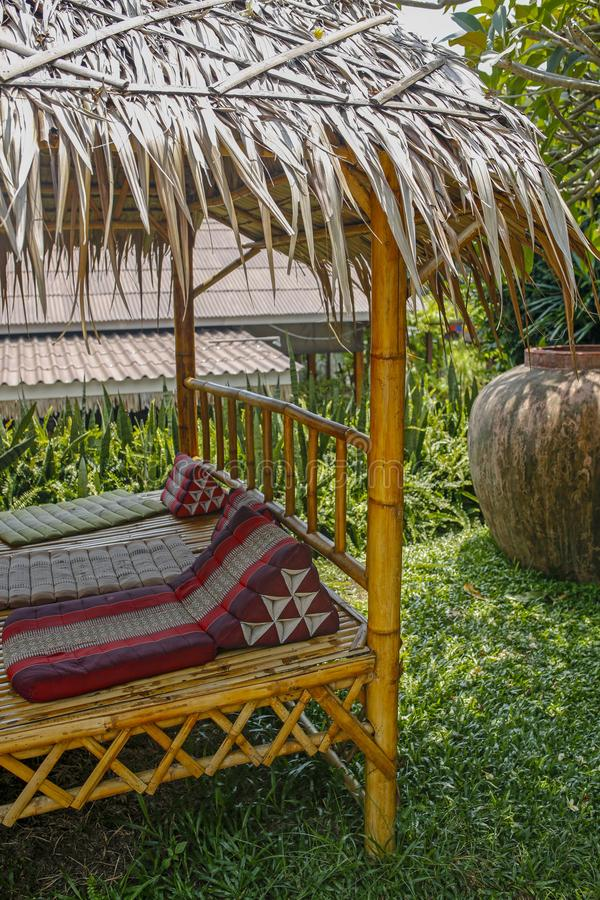 Bamboo hut in the garden. Relaxing bamboo hut in the garden royalty free stock photography