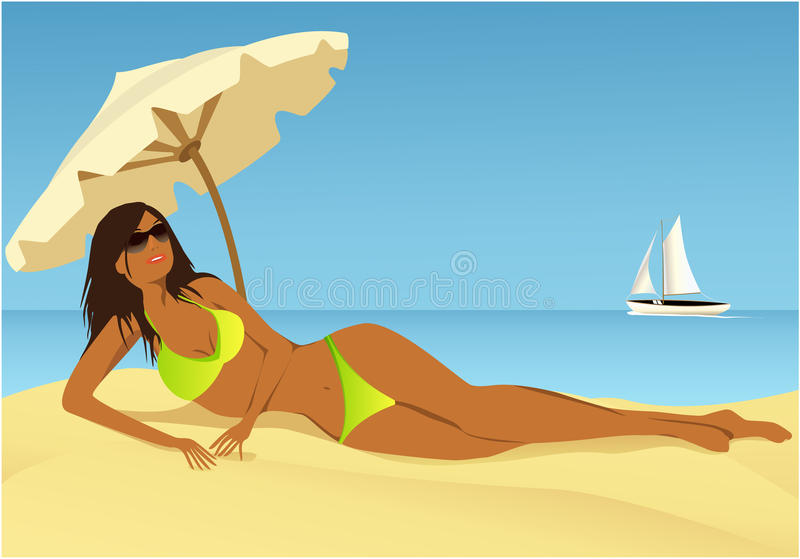 Download Relaxing on the beach stock vector. Image of seaside - 31583480