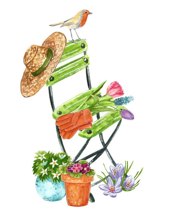 Relaxing Beautiful gardening drawing royalty free illustration