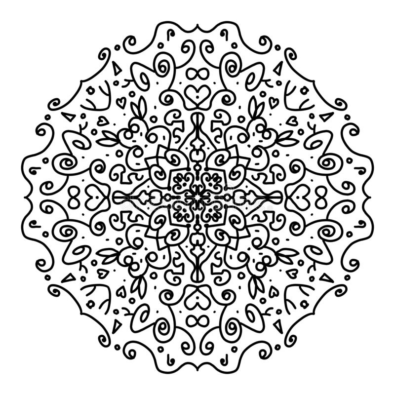 Beautiful mandala to color, black in white background stock image