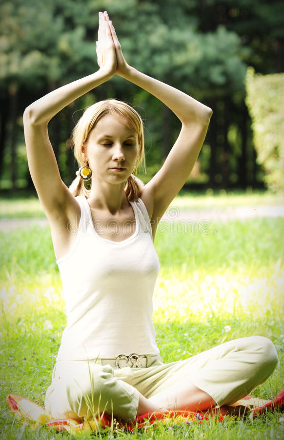 Download Relaxing blonde stock photo. Image of yoga, meditation - 10350462