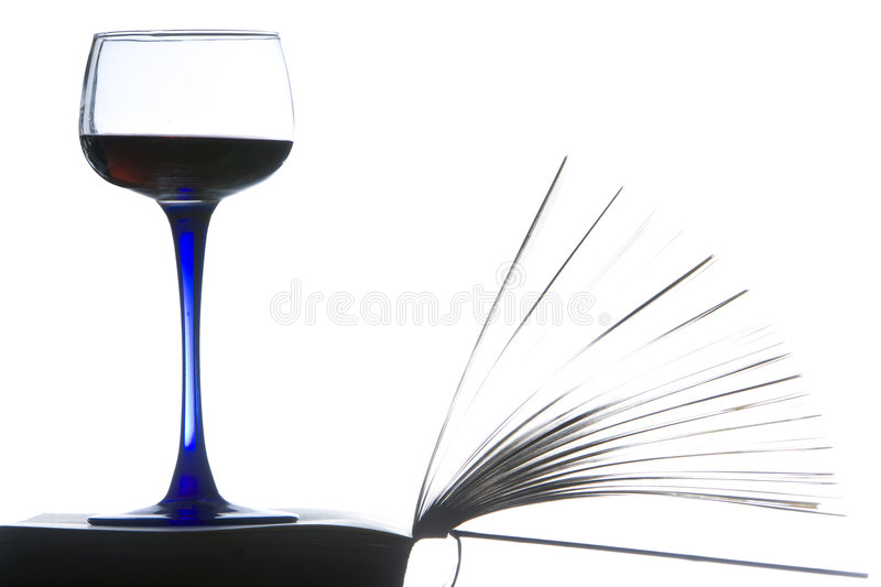Relaxing with a book and red wine. stock images