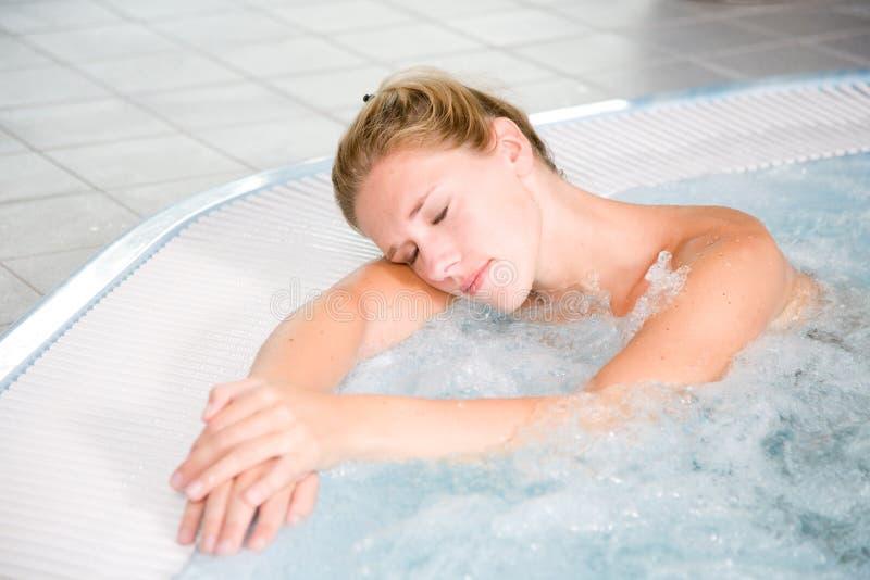 Relaxing bubble bath stock photo