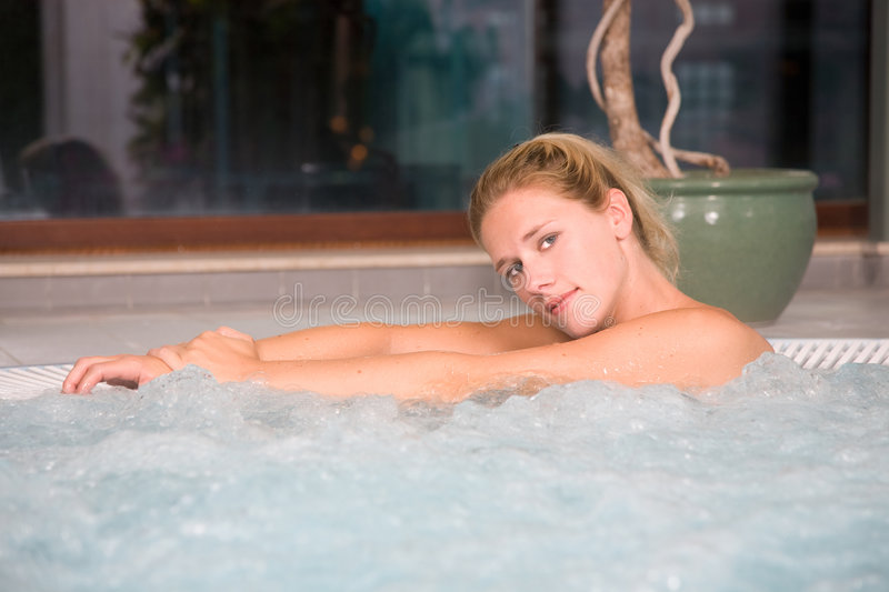 Relaxing in bubble bath stock photography