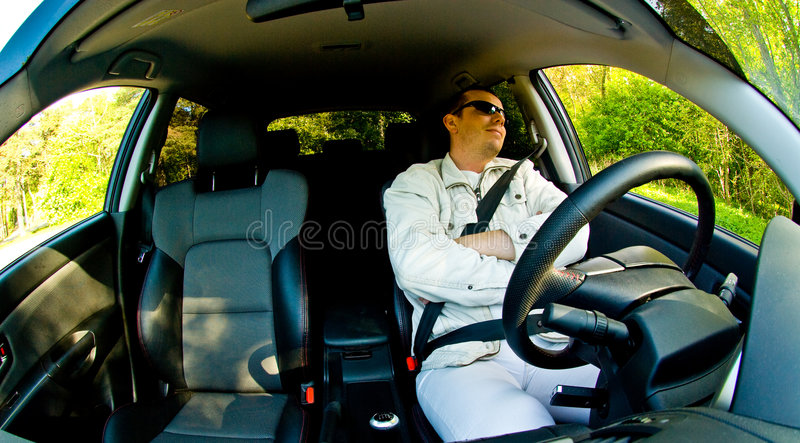 Relaxing in Car stock images