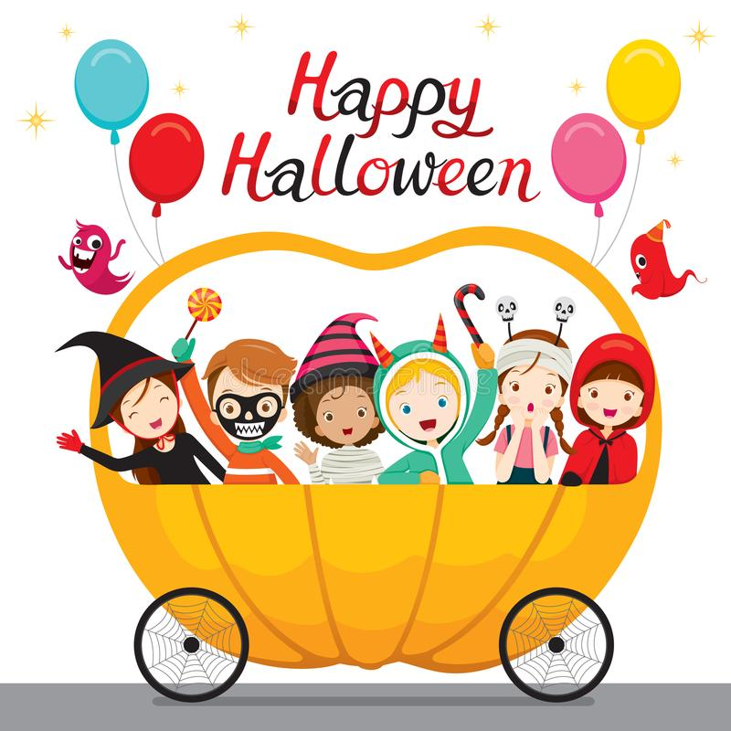 Relaxing Children Sitting On Halloween Pumpkin Cart. Mystery Holiday Culture Halloween Fantasy Night Party royalty free illustration