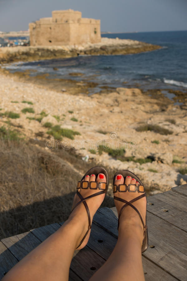 Download Relaxing at the coast stock photo. Image of woman, relaxing - 27812098
