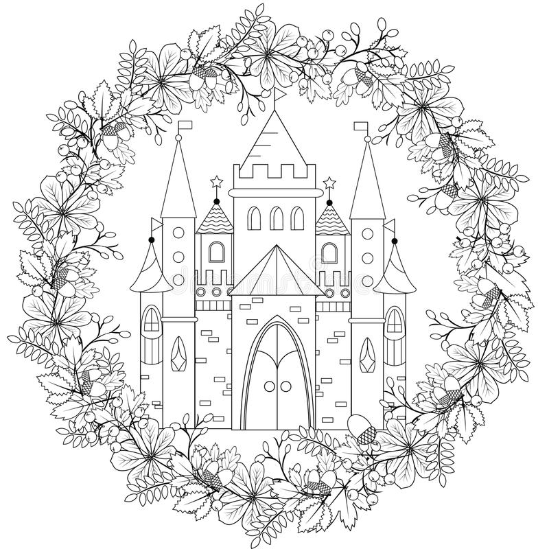 Download Relaxing Coloring Page With Fairy Castle In Forest Wreath For Kids And Adults Art