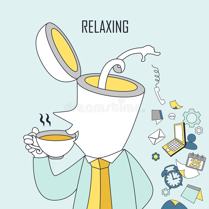 Relaxing concept. A man is drinking coffee in line style stock illustration