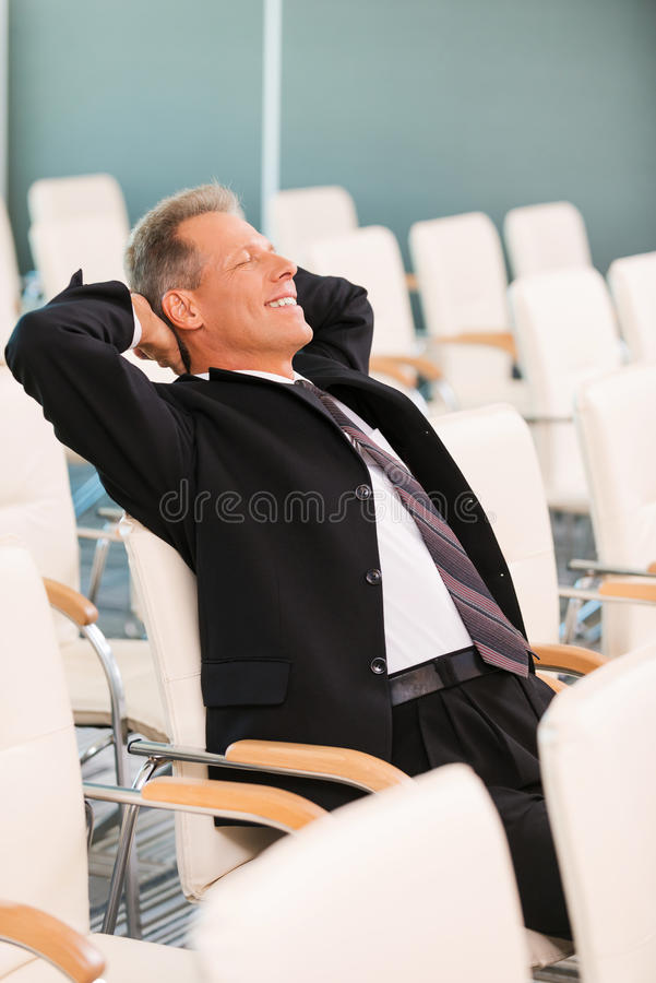Relaxing after conference. royalty free stock photography