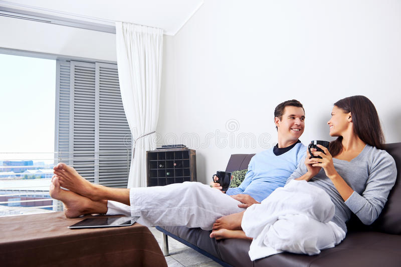 Relaxing couple stock photography