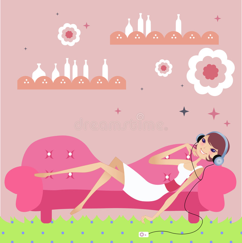 Download Relaxing day at home stock vector. Illustration of girl - 3114875