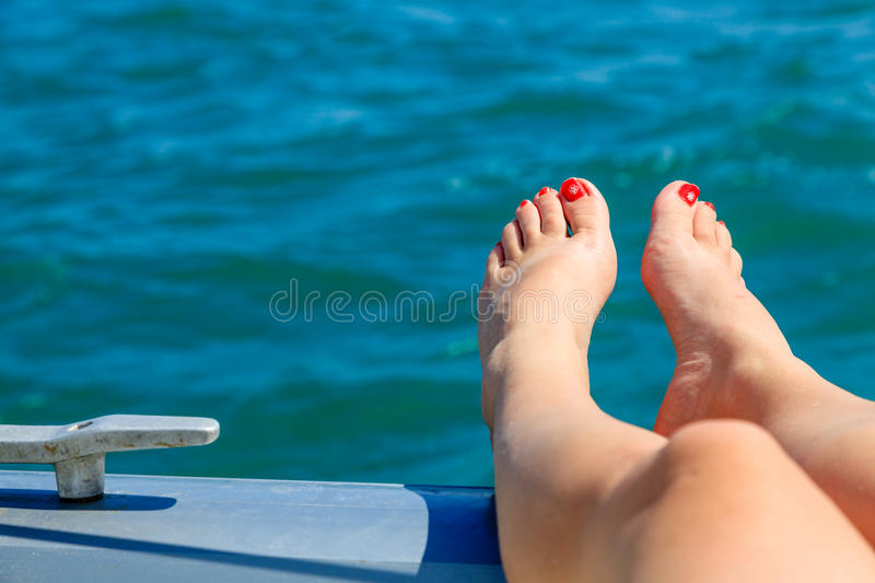 Download Relaxing on the deck stock image. Image of person, water - 38769877
