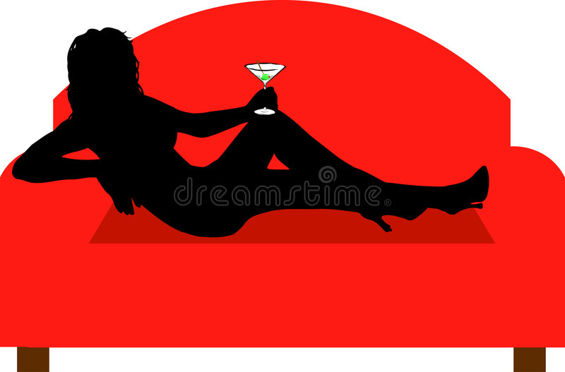 Relaxing with a drink royalty free illustration