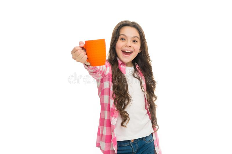 Relaxing with drink. Tea break. Drink enough during school day. Make sure kids drink enough water. Girl surprised face. Hold cup white background isolated copy royalty free stock photo