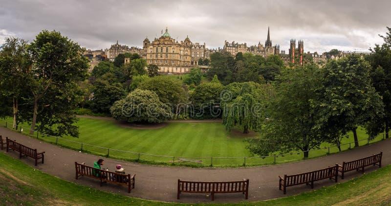 Relaxing in Edinburgh gardens stock photos