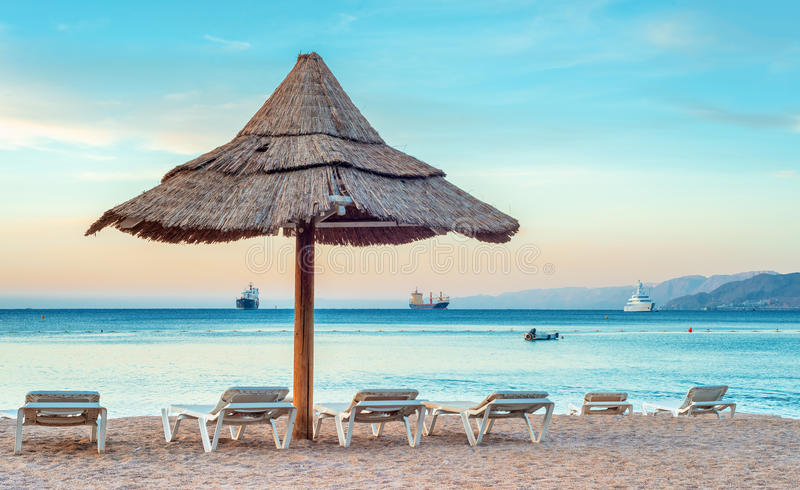 Relaxing facilities on the public beach of Eilat. Eilat is a famous resort city in Israel royalty free stock photos