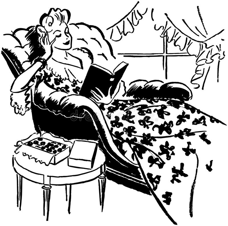 Relaxing With A Good Book royalty free illustration